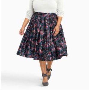 TORRID Black Satin Rose Floral Midi Skirt